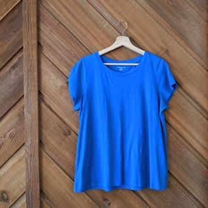 EILEEN FISHER Blue Organic Cotton Tee Size Large